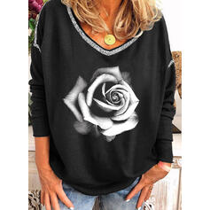 Print Floral Sequins V-Neck Long Sleeves Casual T-shirts