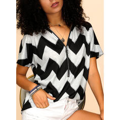 Striped V-Neck Short Sleeves Casual Knit Blouses