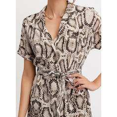 Animal Print Short Sleeves A-line Casual Midi Dresses