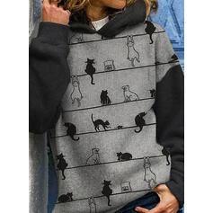 Nadruk Blok Koloru Zwierzę Bluza z kapturem Długie rękawy Bluza z kapturem