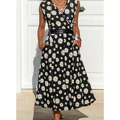 Print/Floral Sleeveless A-line Wrap/Skater Casual Midi Dresses