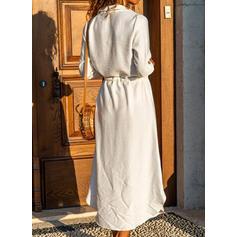 Couleur Unie Manches Longues Trapèze Chemise/Patineuse Décontractée Maxi Robes