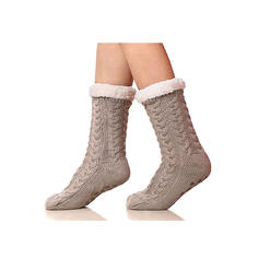 Solid Color/Crochet Warm/Christmas/Crew Socks/Non Slip/Unisex Socks