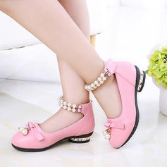 Girl's Leatherette Flat Heel Round Toe Closed Toe Flower Girl Shoes With Beading Bowknot Imitation Pearl