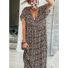 Estampado/Floral Manga Curta Shift Casual Maxi Vestidos
