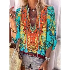 Print Tassel V-Neck 3/4 Sleeves Button Up Casual Blouses