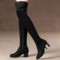 Mulheres Camurça Salto robusto Bombas Botas Bota em cima do joelho com Zíper sapatos