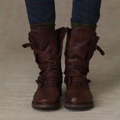 Frauen PU Niederiger Absatz Stiefel-Wadenlang mit Schnalle Schuhe