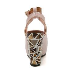 Vrouwen Kunstleer Wedge Heel Sandalen Wedges Peep Toe schoenen