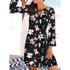 印刷/フローラル 長袖 シフトドレス 膝上 カジュアル/休暇 チュニック ドレス