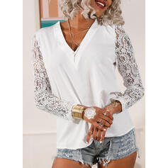Solid Lace V-Neck Puff Sleeves Long Sleeves Elegant Blouses