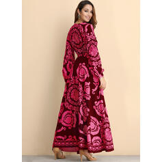 Print Long Sleeves A-line Wrap Vintage/Party Maxi Dresses