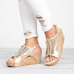 Women's PU Wedge Heel Sandals Wedges With Lace-up shoes