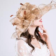 Signore Bella Cotone/Filato netto con Fiore di seta Cappello floscio