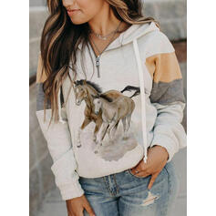 Colorido Animal Manga comprida Hoodie