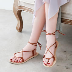Women's PU Flat Heel Sandals Flats Peep Toe Slingbacks With Lace-up shoes