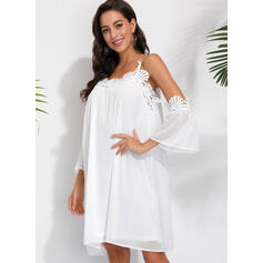Lace/Solid Long Sleeves/Cold Shoulder Sleeve Shift Knee Length Casual/Elegant Tunic Dresses