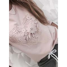 Heart Lace Solid Round Neck Long Sleeves T-shirts