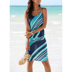 Print Sleeveless Sheath Knee Length Casual/Vacation Slip Dresses