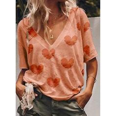 Print V-Neck Short Sleeves Casual Knit T-shirt