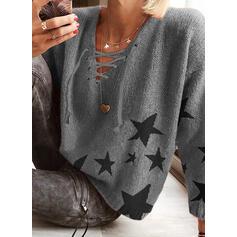 Nadruk Dekolt w kształcie litery V Casual Swetry