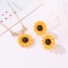 Exquis Charme Alliage avec une fleur Parures Colliers Boucles d'oreilles
