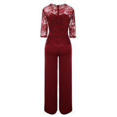Lace Solid Round Neck 3/4 Sleeves Casual Party Jumpsuit