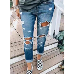 Pockets Shirred Long Casual Denim & Jeans