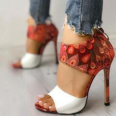 Donna PU Tacco a spillo Sandalo Punta aperta con Cerniera scarpe