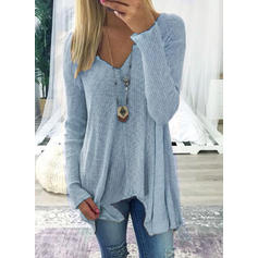 Solid V-Neck Long Sleeves Knit Blouses