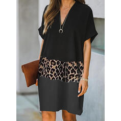 Color Block/Leopard Short Sleeves Shift Knee Length Casual Tunic Dresses