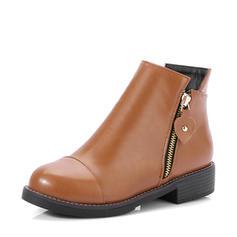 Naisten Keinonahasta Chunky heel Matalakorkoiset Kengät Nilkkurit jossa Vetoketju kengät