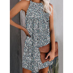Print/Leopard Sleeveless Shift Above Knee Casual Dresses