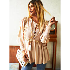 Solid Lace V-Neck Lantern Sleeve Long Sleeves Button Up Casual Blouses