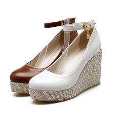 Femmes Similicuir Talon compensé Plateforme Bout fermé Compensée avec Strass Boucle chaussures