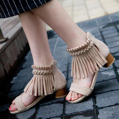 Women's Suede Chunky Heel Sandals Pumps Peep Toe With Tassel shoes