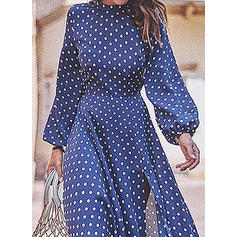 Print/PolkaDot Long Sleeves A-line Casual/Vacation Midi Dresses