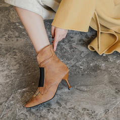 Mulheres PU Salto agulha Bombas Botas com Zíper Divisão separada sapatos