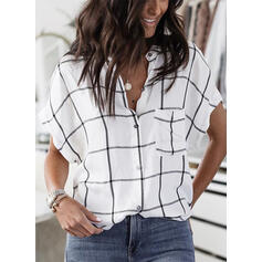 Print V-Neck Short Sleeves Button Up Casual Shirt Blouses