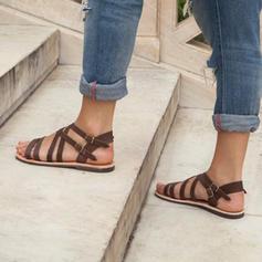 Dla kobiet Skóra ekologiczna Płaski Obcas Sandały Plaskie Z Klamra obuwie