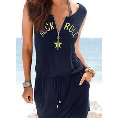 印刷 ノースリーブ シースドレス 膝上 カジュアル/休暇 タンク ドレス