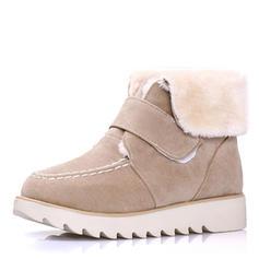Mulheres Camurça Sem salto Sem salto Botas com Velcro sapatos