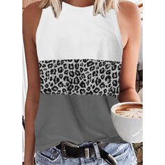 Χρώμα μπλοκ λεοπάρδαλη Kerek nyak Αμάνικο Μπλουζάκια