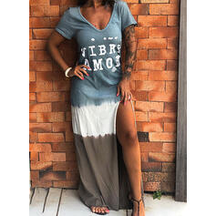 Print/Color Block/Tie Dye Short Sleeves Shift Casual/Vacation Maxi Dresses