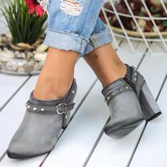 Frauen Veloursleder Stöckel Absatz Stämmiger Absatz Stiefelette mit Niete Schnalle Reißverschluss Schuhe