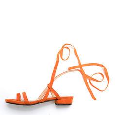 Femmes Similicuir Talon plat Sandales Chaussures plates À bout ouvert Escarpins avec Dentelle chaussures