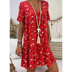 Print/Floral Short Sleeves Shift Knee Length Casual/Vacation Dresses