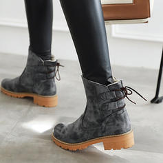 Women's PU Chunky Heel Ankle Boots Snow Boots With Lace-up shoes