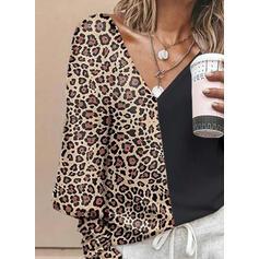 Geblockte Farben Leopard V-Ausschnitt Lange Ärmel Freizeit Blusen