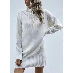Solid Crew-hals Casual Lang Sweaterkjole